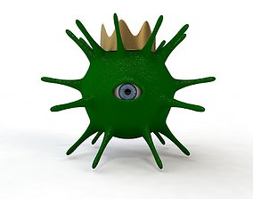 3D model of a one-eyed coronavirus