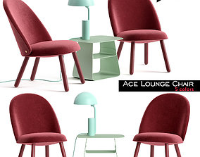 Ace Lounge Chair and Cap Table Lamp 3D asset