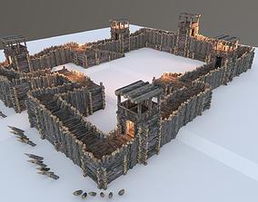 Medieval Wooden Fort 3D asset
