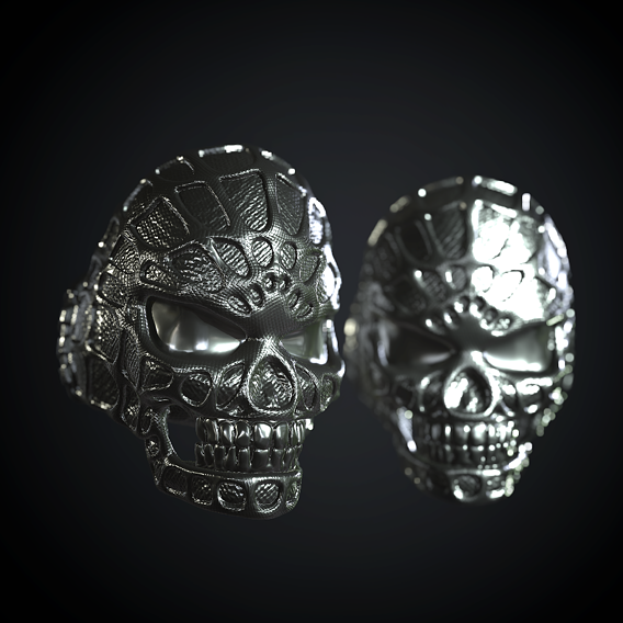 Stylized Skull Ring Spider Man type