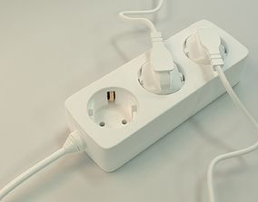 Realistic socket strip or Plug Strip with plug 3D