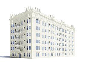 exterior White Apartment Building 3D Model