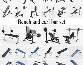 Bench and curl barbell set 3D