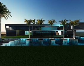 Modern House Concrete Los Angeles 3D