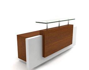 Front Wooden Reception Desk 3D model