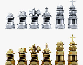 3D asset realtime Chess Steampunk