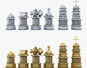 3D asset realtime Chess Steampunk