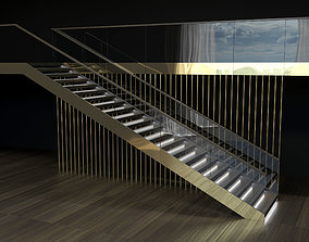 3D model Brass and glass staircase