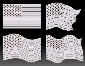 American flag STL file Relief Clipart 3D printable model 2