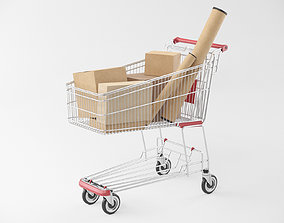 3D model Shopping Cart with Boxes