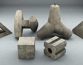 Set of Concrete breakwater blocks 3D model