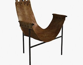 Iron and Saddle Leather Sling Chair 3D