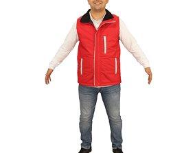 No449 - Red Vest Male A Pose 3D