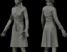 3D Female Trench Coat for Marvelous Designer