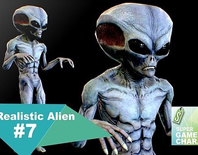 Realistic Alien 7 3D asset animated