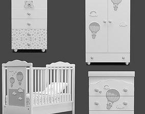 Pali Bonnie and Moon Settimino baby furniture set 3D