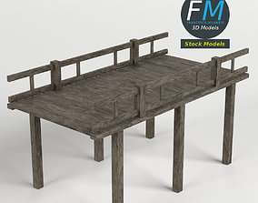 3D Wooden pier with railing
