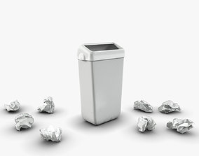 3D model low-poly Trash bin and crumpled paper