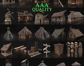 3D model AAA NEXT-GEN HUGE MEDIEVAL VILLAGE SETTLEMENT 1