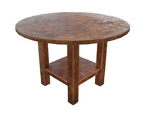 Old vintage used western round saloon table 3D model