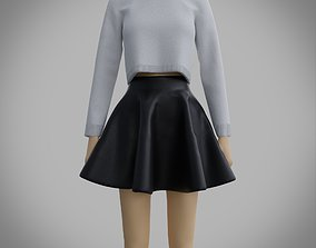 skater outfit - sweater and skirt 3D model