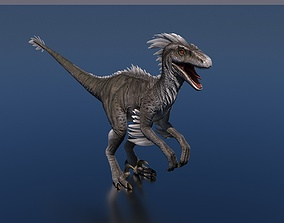 Raptor Dinosaur 3D model rigged