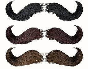 3D asset Mustache Low Poly 6