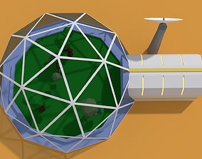 3D asset Low Poly Sci Fi Greenhouse