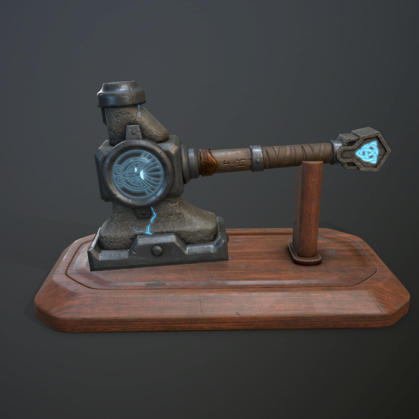 Dwarven blacksmiths hammer with pedestal