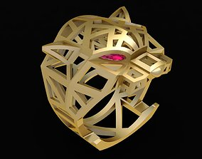 3D print model 1970 Huge Cartier Gold Panther Ring