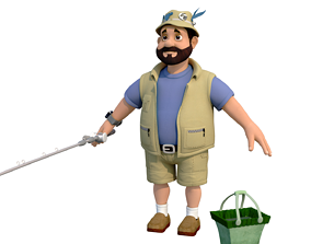 3D model fisherman F cartoon rigged character