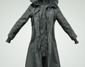 3D model Long black Coat