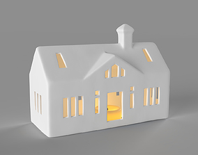 3D White ceramic ranch house