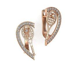 tennis earrings heart design 3D printable model