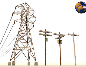Lowpoly Electric Power Line Pole 3D Model VR / AR ready