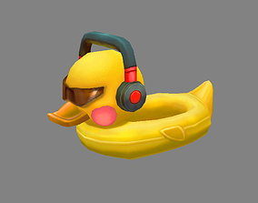 Cartoon duck swimming ring 3D asset