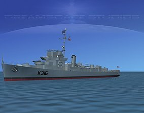 UK Captains Class Frigate HMAV Drury 3D model