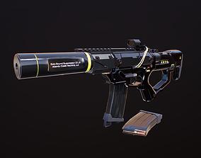 3D model game-ready Sci-Fi Semi-auto handgun