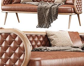 Victoria leather three-seater restaurant sofa 3D model 1