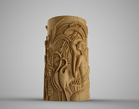 Hieroglyphic relief Cylinder Box 3D print model