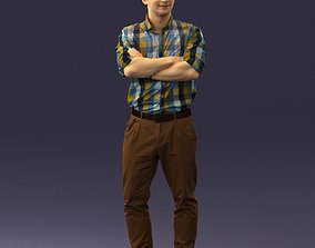 Man in trousers and checked shirt 0237 3D model