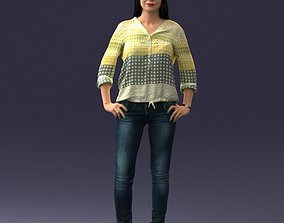 Stylish brunette in jeans 0248 3D Print Ready