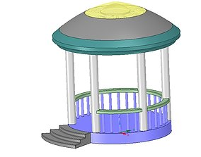 Rotunda arbor terrace for 3D printing and assembly