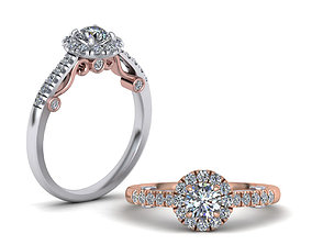 Engagement ring 0255 Round Halo Own design 3D print model
