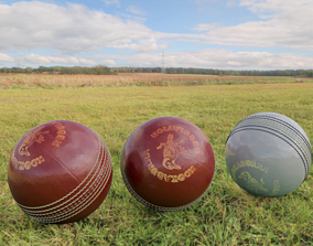 3D Red and White Cricket Balls