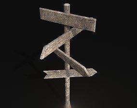 3D asset Wooden Road Sign - Customizable