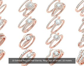 22 Solitaire Ring and Half Eternity Rings 3dm stl render