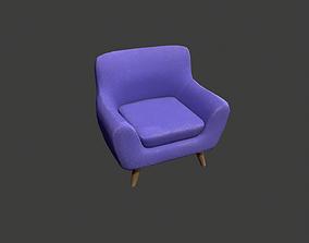 Purple Armchair 3D asset