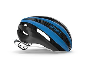 3d Blue Bicycle Helmet 3D model