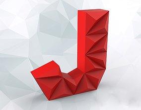 Lowpoly letter J 3D printable model